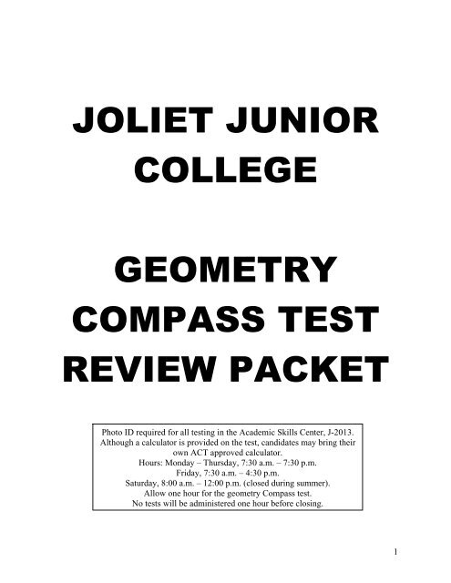 joliet junior college geometry compass test review packet