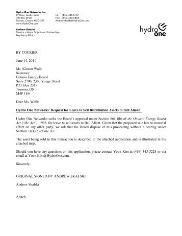 H1N cover letter attaching Haldimand Hydro re   Hydro One