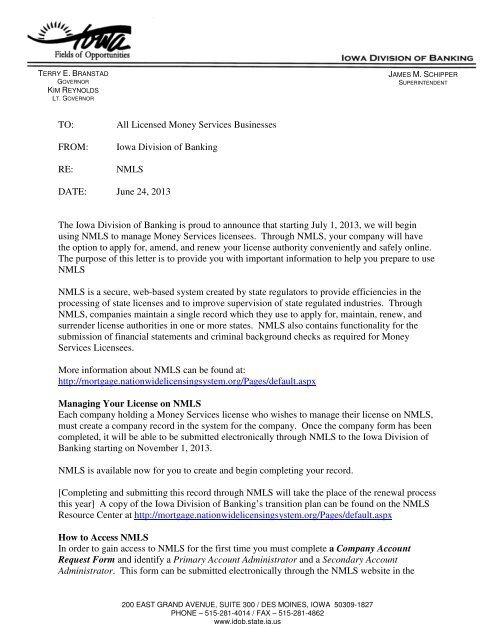 Letter To Money Services Licenses Iowa Division Of Banking