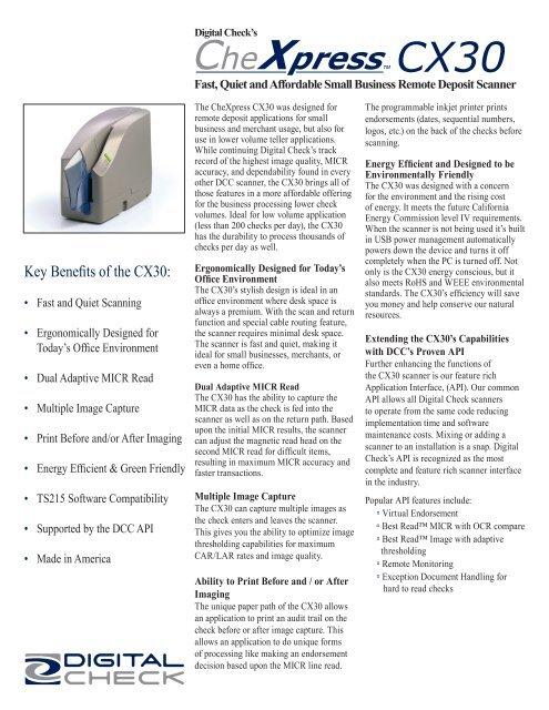 Digital CheXpress® CX30 Check Scanner Information