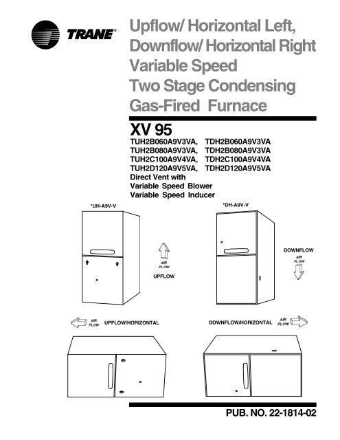 furnace air flow direction diagram r33 gtst wiring upflow vs downflow schematics trane product data horizontal left rh yumpu com