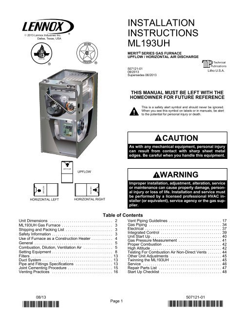 ml193uh gas furnace installation manual  lennox