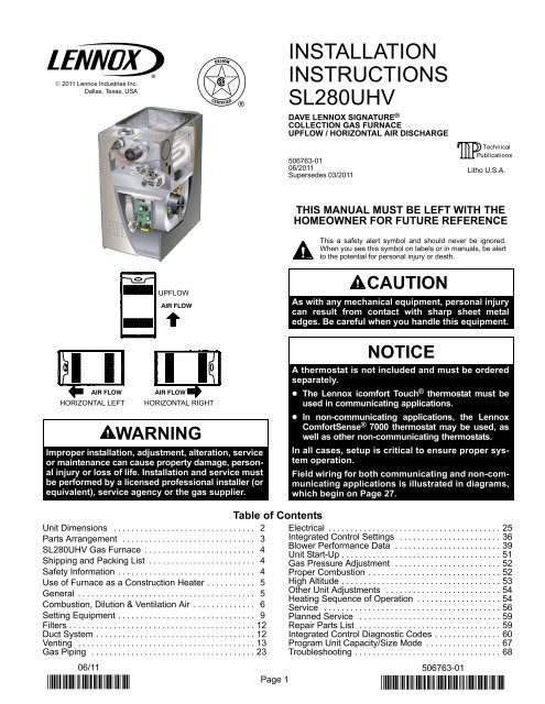 sl280uhv gas furnace installation manual  lennox