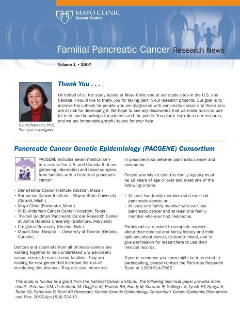 Newsletter Familial Pancreatic Cancer