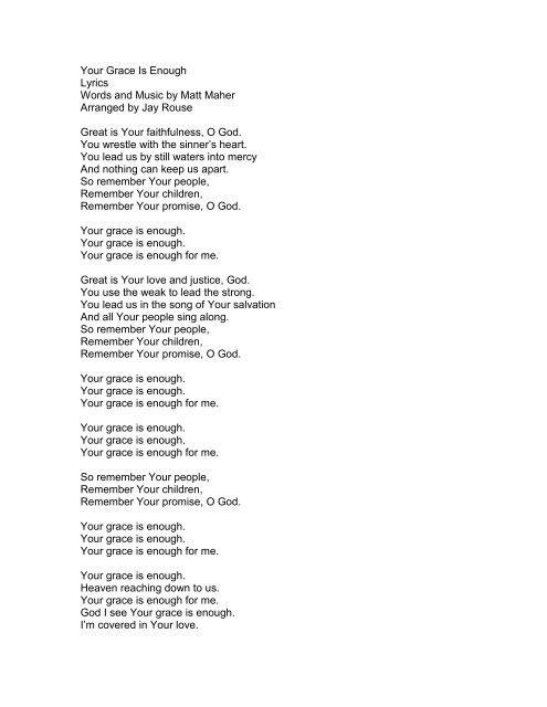Grace And Mercy Lyrics : grace, mercy, lyrics, Grace, Enough, Lyrics, Words, Music, PraiseGathering