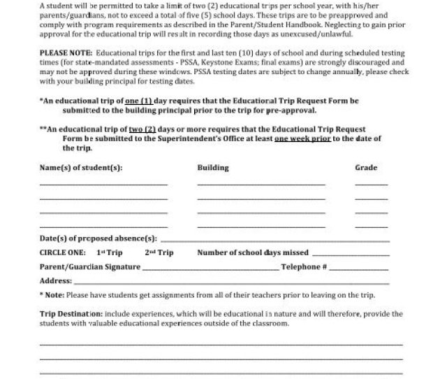 Warwick School District Educational Trip Request Form