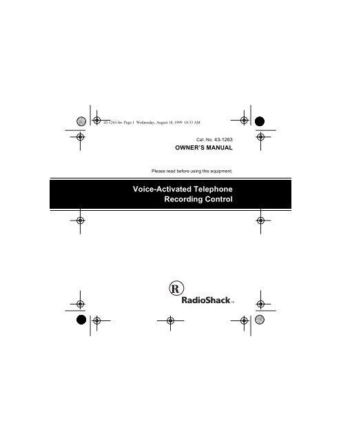 RadioShack Telephone Recording Control