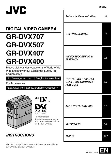 digital video camera gr-dvx707 gr-dvx507 gr-dvx407 gr