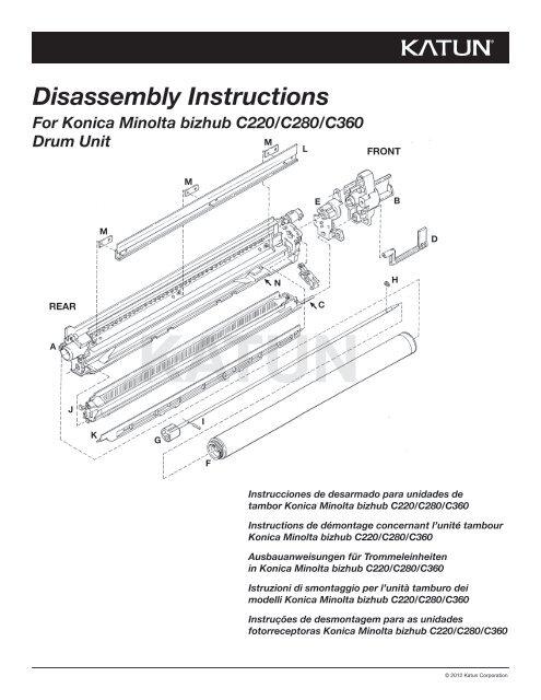 Disassembly Instructions For Konica Minolta bizhub C220