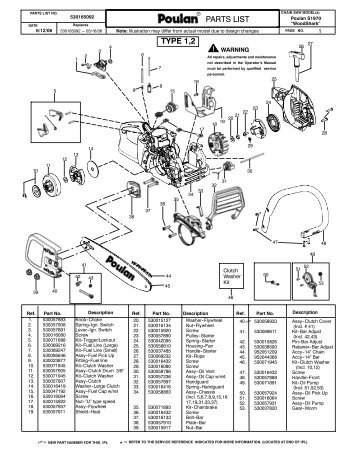 Pin 2008-poulan-2150-le-predator-chainsaw-parts-list-page