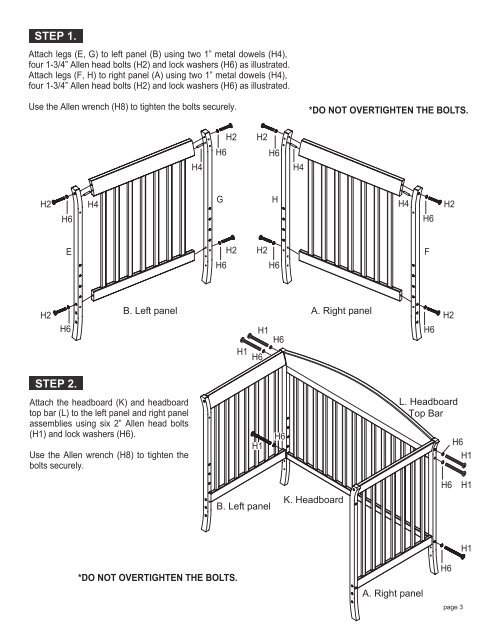 CRIB PARTS A. Right panel
