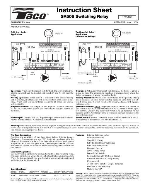 Taco Sr506 Wiring Diagrams   inboundtech co
