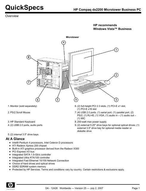 HP Compaq dx2200 Microtower Business PC