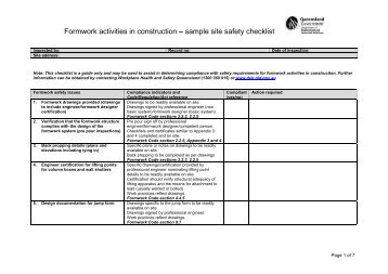 SAMPLE SAFETY AND MAINTENANCE CHECKLIST