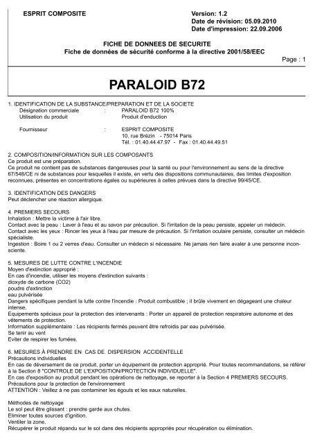 paraloid b72 fds esprit composite