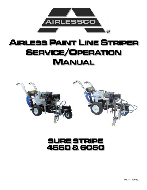 airless paint line striper service/operation manual