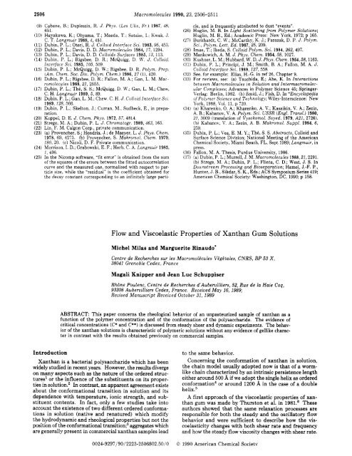Flow and Viscoelastic Properties of Xanthan Gum Solutions