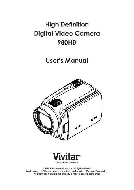 High Definition Digital Video Camera 980HD User's Manual