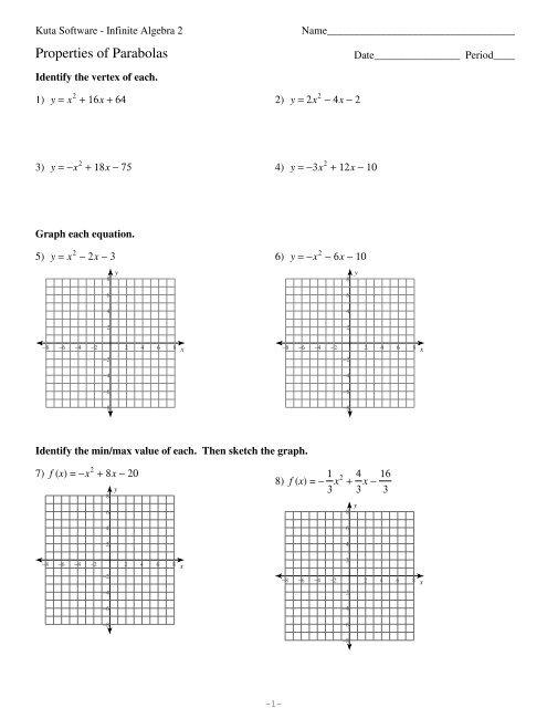 Algebra 2 Parabola Worksheet