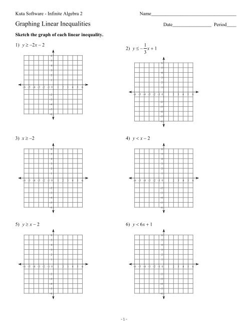 Graphing Systems Of Inequalities Worksheet Algebra 2