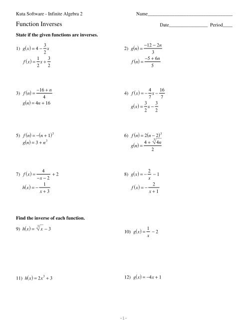 Kuta Software Infinite Algebra 2 Function Inverses Answers