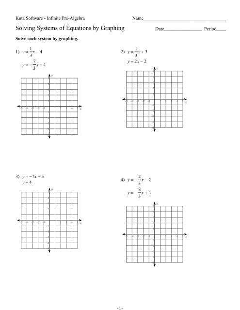 Solving System Of Equations By Substitution Worksheet Kuta