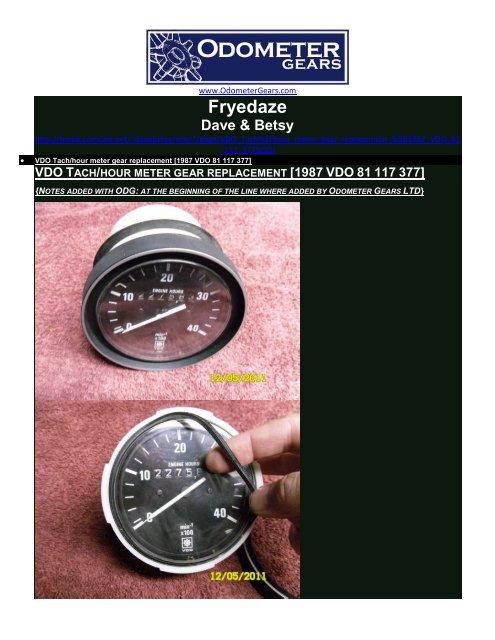 vdo tachometer with hour meter wiring diagram dual run capacitor gear replacment odometer gears