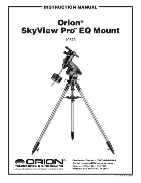 orion® skyView Pro⠢ EQ Mount