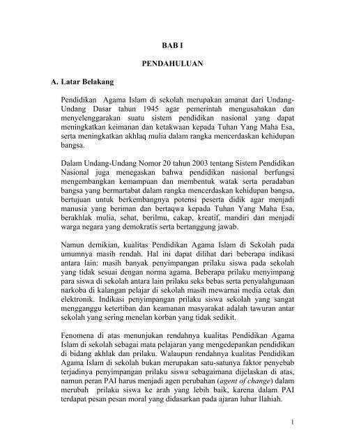 Penyusunan laporan kegiatan ekstrakurikuler penyusunan laporan kegiatan. Bab I Pendahuluan A Latar Belakang Pendidikan Agama Islam