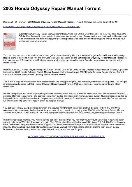 2002 Honda Odyssey Service Manual Edu