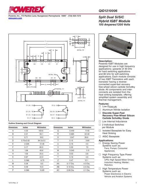 Split Dual Powerex QID1210006 Si/SiC Hybrid IGBT Module