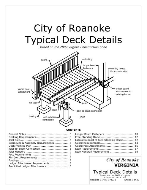City of Roanoke Typical Deck Details