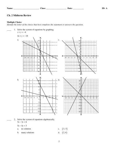 Solving Systems Of Equations By Graphing Multiple Choice