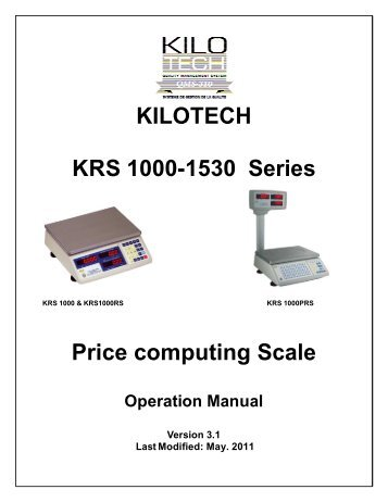 Instruction Manual for Globe Price Computing Scale Models