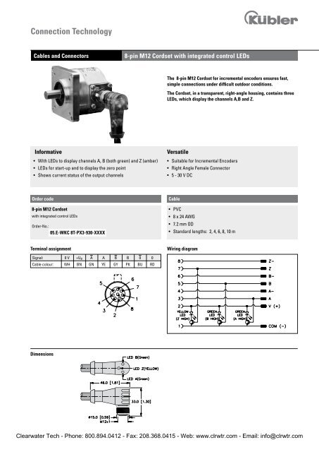 kubler encoder wiring diagram 2002 mitsubishi lancer fuel pump 8 pin m12 cordset with integrated control leds