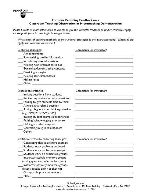 Form For Providing Feedback On A Classroom Teaching