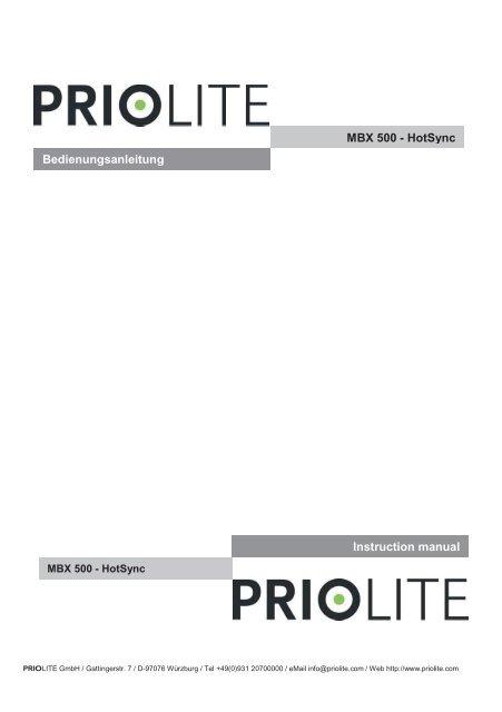 PRIOLITE MBX500 Hot Sync Bedienungsanleitung