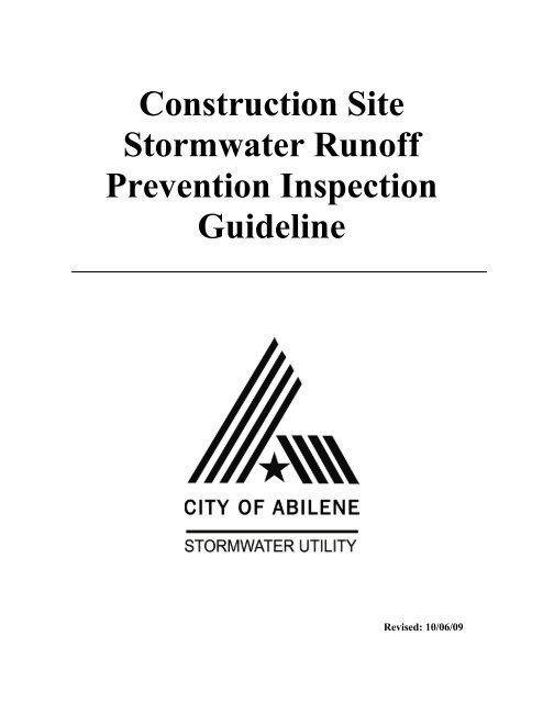 Construction Site Stormwater Runoff Prevention Inspection