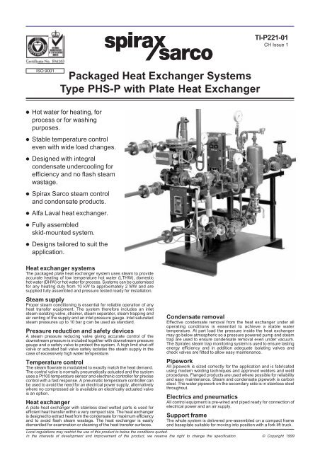 Packaged Heat Exchanger Systems Type PHS-P with
