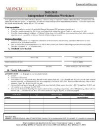 Independent Verification Worksheet - Darton College