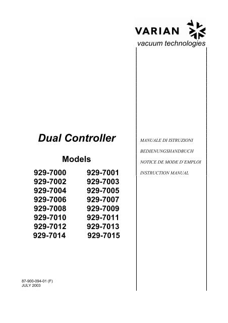 varian dual ion pump controller