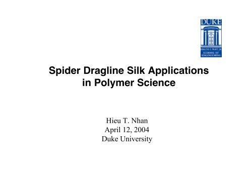 Spider Dragline Silk Applications in Polymer Science
