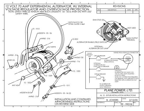 12 volt 70 amp experimental alternator, w/ internal