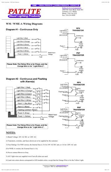 Patlite Corporation  LU7 Wiring Diagrams  Parts Procurement