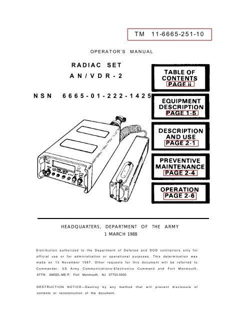 RADIAC SET AN/VDR-2 NSN 6665-01-222-1425