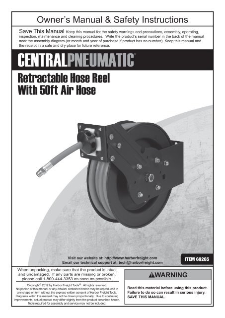 Harbor Freight Air Hose Reel Parts