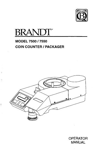 Page 1 @ BRANDT MODEL 7500 I 7550 COIN COUNTER l