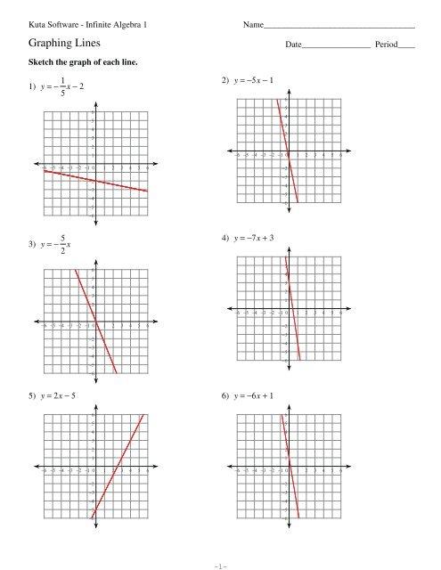 Kuta Software Infinite Algebra 1 Graphing Lines Worksheet