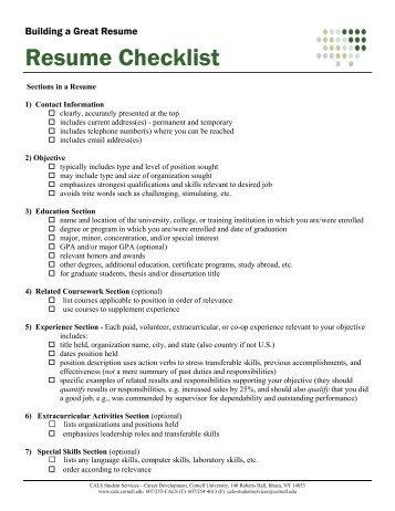 Samples Resume Checklist