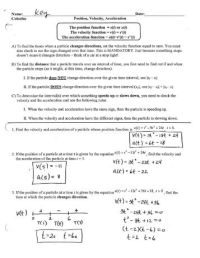 Displacement Velocity And Acceleration Worksheet ...